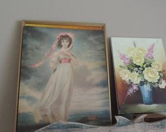 Vintage Litho Woman Print Picture Pinks Blues Greens Victorian Art Unframed Art Print Litho Vintage Lithograph Female Figure USA