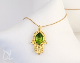 Eye Evil Eye Jewelry, Birthstone Jewelry Christmas Gift, Peridot Necklace, August Birthstone Necklace, Hamsa Hand, Good Luck Hand Necklace