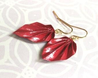 Burgundy Shimmer Origami Leaf Earrings