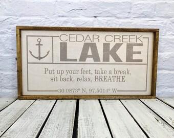 Coordinates Sign, Latitude Longitude, Housewarming Gift, Wedding Gift, GPS Coordinates, Personalized Wood Sign, Anchor, Family Name