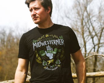 Leave No Trace Midwesterner Triblend Black Unisex T-shirt. Celebrates Midwest, workers, outdoors, hops. Slim-fit men and women tee.