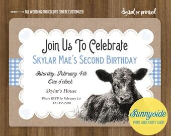 Farm / Cute Calf Cow Birthday Invitation, Barnyard Birthday Invite, Printable or Printed, 1st 2nd 3rd any age boy or girl