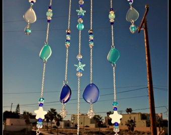 Beach Glass Wind Chime, Starfish Mobile, Beaded,  Sea Glass Windchime,  Caged Marbles