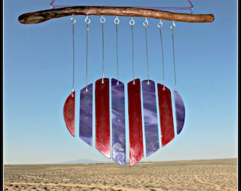 Stained glass heart, wind chime, heart wind chime, heart mobile, hanging glass heart, red and purple, heart, stained glass art, patio chime