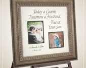 Parents Wedding Gift Personalized Picture Frame TODAY A GROOM Father of the Bride Custom Frames Personalized Wedding Photo Mats, 16 X 16