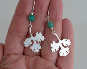 CILANTRO LEAF EARRINGS - Sterling Silver - Amazonite Stone - Coriander