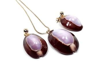 Purple Brown Cowrie Seashell Vintage Womens Jewelry Set Earrings Pendant Necklace Shell, Ocean Beach Nautical Sea