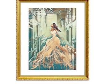 Reflections - Print on Archival Matte Paper, By Alycia D'Avino, Ballerina Art, Mermaid Painting, Underwater Art, Wall Decor, Ballet Shoe
