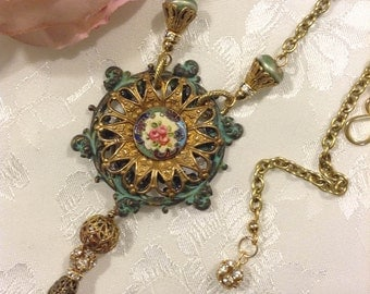 Vintage Guilloche Enamel ~ Steampunk Necklace ~ Tassel Necklace ~ Assemblage Jewelry ~  Pendant Necklace ~ Upcycled Jewelry ~ FREE SHIPPING