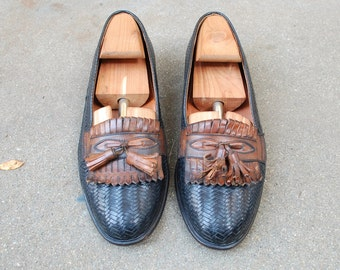 Vintage Mens 8.5d Cable and Co Italian Slip On Loafers Tassel Frill Fringe Loafer Black and Brown Leather Two Tone Woven Braided Dress Shoes