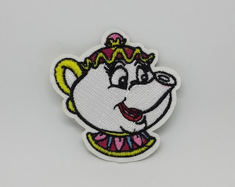 "Mrs Pott Patch Disney Patches Beauty and The Beast Iron On Patch size 2 3/8"" x 2 1/2"""