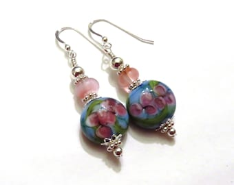 Blue & Pink Floral Earrings, Blue Earrings, Pink Earrings, Blue Dangle Earrings, Pink Dangle Earrings, Lampwork Earrings, Sterling Silver