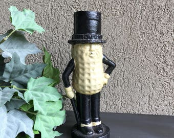 Planters Cast Iron Door Stop Vintage Mr Peanut Bank Doorstop - #F5100