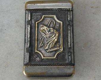 BRASS and STEEL MATCH Safe Holder Box Embossed Framed Indian & Dog Rope Design Striker on Bottom Hinged Flip Top Lid Vintage American 1920's