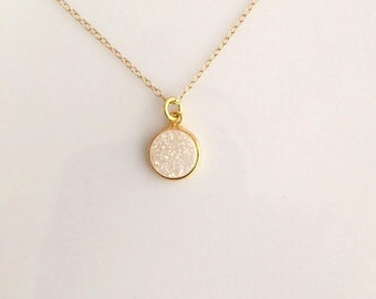 Gold White Druzy Necklace.White Druzy Necklace. Gold Choker Necklace. Dainty Gold Choker.Collar Necklace.Simple Gold Necklace. Druzy Jewelry