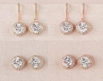 Bridal Earrings, Cushion Cut Gold wedding earrings, Stud Earrings, Rose Gold, Bridesmaids Wedding Jewellery,  Molly Earrings