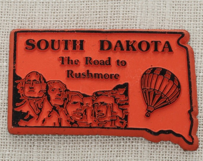 South Dakota Vintage Silhouette State Magnet Mount Rushmore Travel Tourism Summer Vacation Memento Hot Air Balloon Red USA America Fridge 5S