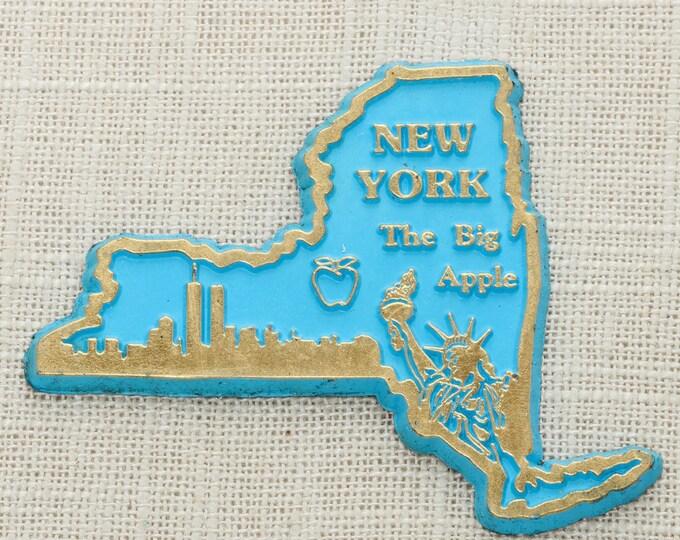 New York Vintage State Magnet   Travel Souvenir Summer Vacation Memento   Gold Blue The Big Apple NYC USA America Fridge Pre 9/11 5S