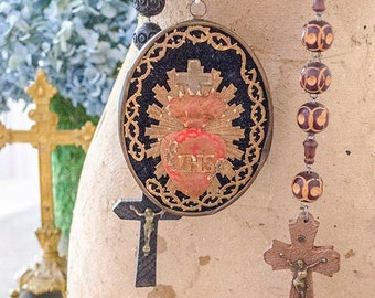 Antique French Ex Voto Sacred Heart, Made by Nuns, from France, Century Old, Devotional Piece