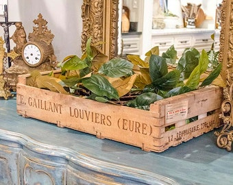 Antique French Fruit Crate, Wood, Slats, Embossed, Label on Side
