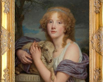 Gorgeous Girl with Lamb Portrait, Framed, Print on Canvas
