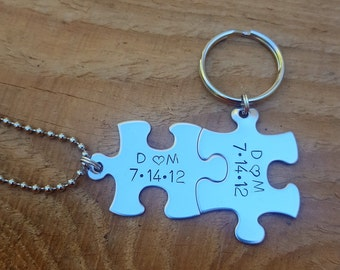 Personalized Puzzle Dated and Initialed Keychain and/or Necklace