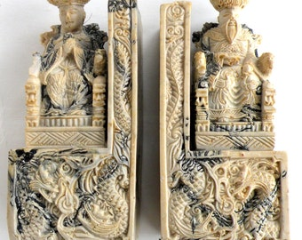 Vintage Oriental Bookends Book Ends Asian Men Dragon Marbled Soapstone Soap Stone