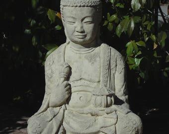 Vintage BUDDHA HOLDING LANTERN w/ Distressed Detail  (c)