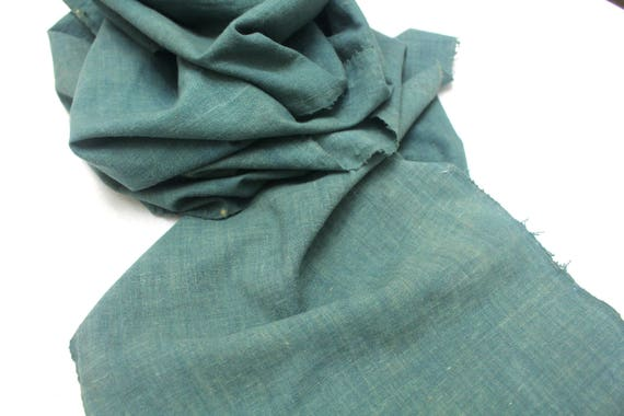 LONG Japanese Indigo Cotton. Artisan Aizome Boro Textile. Green Blue Vintage Folk Fabric (Ref: 1595E)