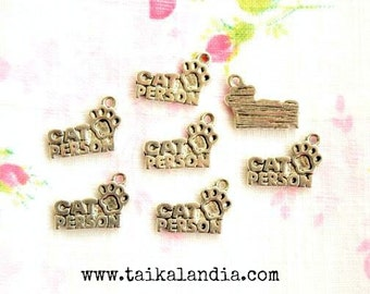 Cat Person Charms, Cat Person Pendants, Cat Charms, Cat Pendants, Antique Silver Charms 8pcs, Cat Lover Charms, Cat Charm, Cat, Nickel Free