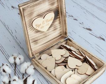 Sign A Heart Keepsake Box Guestbook Hearts Wedding Guestbook Wood Hearts Rustic Wedding Guestbook