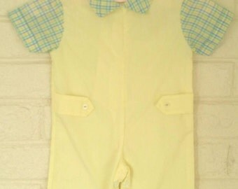 Madras Plaid, One Piece Yellow Suit, Short Sleeves, 0-3 Months