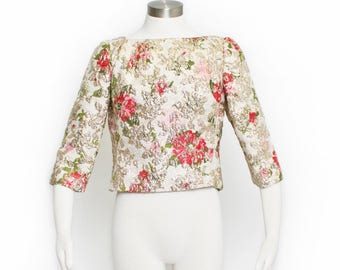 Vintage 1960s SUZY PERETTE Blouse - Floral Metallic Gold Brocade Top Shell 60s - Large L