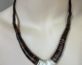 Vintage Puka Shell / Wooden Necklace Sterling Silver 925 Hawaiian Wood Boho Hippie Retro Statement