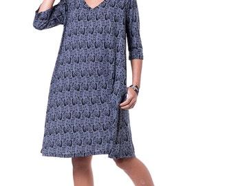 Oversize sleeve dress Blue printed dress V neck loose dress Knee length blue dress 3/4 sleeve dress