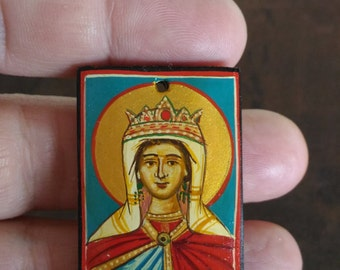 miniature icon of St Theophano the Empress,Orthodox Byzantine icon on wood,fathers day gift