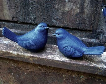 Blue Birds, Garden Bluebirds, Something Blue For Weddings, Concrete Bird, Cement Blue Bird, Garden Decor, Birdbath Bird, Concrete Statues.