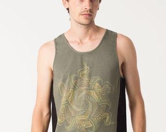 Mandala Mens Tank Top, Sacred Geometry, Screen Printed, Sleeveless Yoga Shirt, Tribal, Festival Clothing, Burning Man