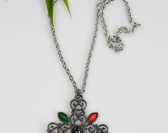 Vintage Avon Romanesque Cross Pendant Necklace ~ Designer Statement / Filigree / Retro 70's Fashion ~ Birthday Gift For Her ~ Estate Jewelry