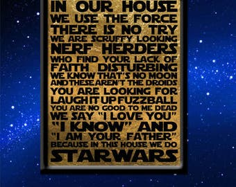 Star Wars House Rules 11x14 Art Print
