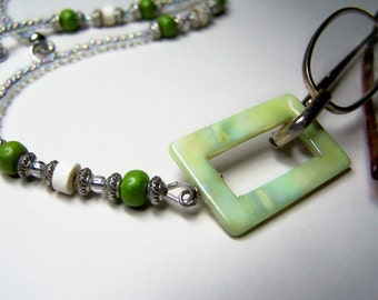 Lanyard for Glasses, One Of A kind, Lime Accent Beads, Eyeglass Holder, Eyeglass Necklace, Clear Beads, Glasses Holder, Eyeglass Lanyard