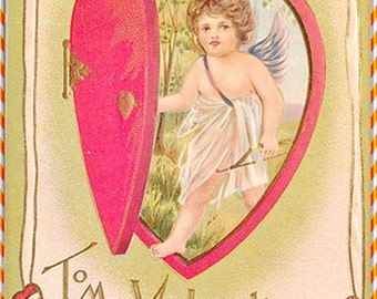Antique Valentine Cupid Angel early 1900 postcard download