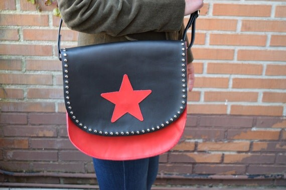 Leather purse bag,stars purse,stars bag,crossbody leather purse,leather handbag,red leather handbag,red leather purse,stars purse bag