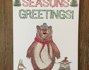Woodland Christmas Cards set of (8) - seasons greetings - merry christmas - holiday cards - fox - bear - owl - art - whimsical christmas