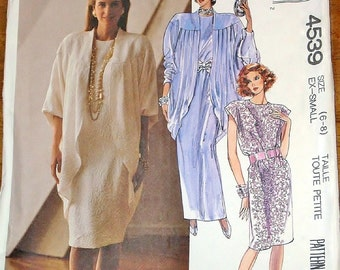 Vintage 1980s Sewing Pattern McCall's 4539 Cocoon Jacket, Maxi Gown, Evening Dress, Womens Misses Size 6-8 Bust 30-31 Uncut Factory Folds