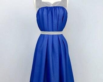Royal Blue Evening Dress - Reversible - Blue Dress - Black and White