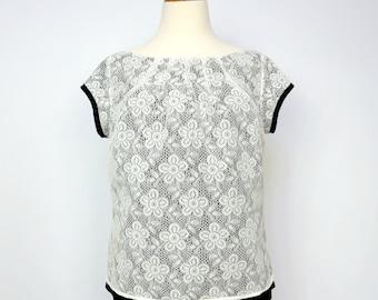 White Lace Blouse - Reversible - Lace Blouse - Black & White