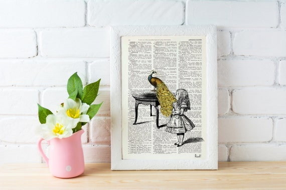 Alice in Wonderland- Alice with peacock- Wall art home decor poster print- Alice in Wonderland gift, giclee print, Dictionary art BPAW028