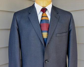 vintage 1960's -Brienshire- Men's 2 piece suit. Blue Birdseye. 3 Button sack - Soft shoulder. Flat front pants w/ cuffs. MINT. 42 Long