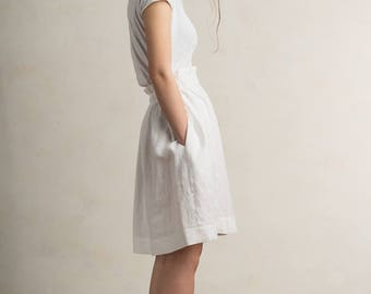 White linen skirt, White skirt, White linen women's clothing by LHI